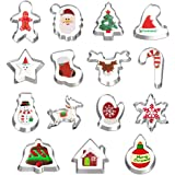 Hibery 15 Pcs Christmas Cookie Cutters, Holiday Cookie Cutters Including Snowflake, Snowman, Gingerbread, Christmas Tree, Gin