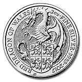 純銀 62.2グラム イギリス 龍・ドラゴン・クィーンズ ビースト 5ポンド 2017年 2 オンス 銀貨 62.2g シルバー コイン インゴット (¥ 6,999)