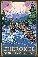 チェロキー、ノースカロライナ州–Angler Fly Fishingシーン 24 x 36 Giclee Print LANT-49958-24x36