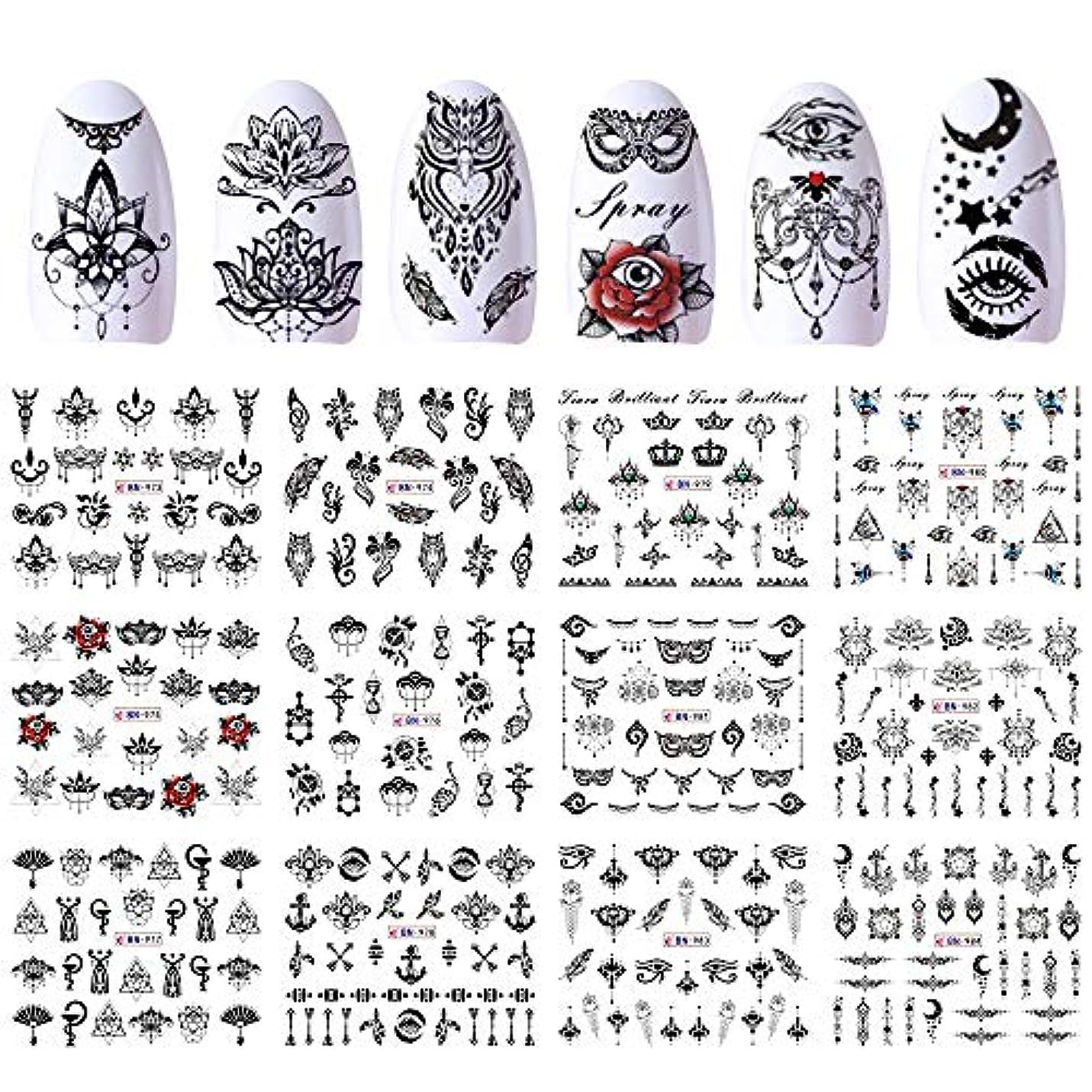 剛性倫理フィクションSUKTI&XIAO ネイルステッカー 12デザインウォーターステッカー転送ブラックネイルデカール花ラップマニキュアネックレスインテリアタトゥーのヒント