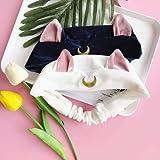 Pack of 2 Cute Plush Headbands, Sailor Moon Luna Cat Hairband Elastic Hair Head Band Tie Head Wrap for Women, Girls (Multi001