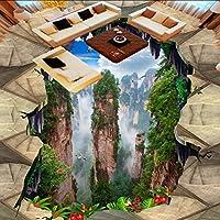 Wuyyii カスタムマウンテンバレーマウンテンバスルームキッチン3Dステレオフロアペースト自己接着壁画ショッピングモールの壁紙-120X100Cm