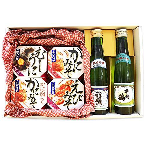 おつまみ ギフト 海鮮 缶詰 4種 日本酒 2本 セット