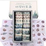 Watercolor Forest Deer Washi Masking Tape Bulk/Winter Nature Washi Tape Set for Traveler Notebook, Journal, Scrapbook, Crafti
