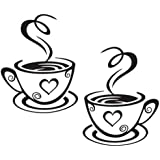 Decaltor Dual Coffee Cup Pattern Sticker Wall Decals Home Art Decor Size 12'' ×7