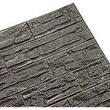 Doremy 3D立体不規則なウォールステッカー 軽量ブリックタイル調壁紙シート DIY防水防音 自己粘着60*60CM (12枚入, ダークグレー)