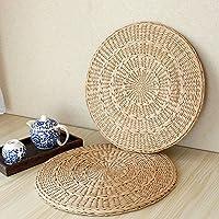 Li Hua Cat 茶室 座布団 シーグラス 丸型 水草 天然素材 畳茶 (約径45×厚み3.5センチ)