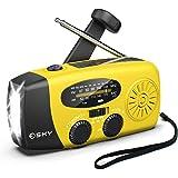 Esky [Upgraded Version] Portable Emergency Weather Radio Hand Crank Self Powered AM/FM/NOAA Solar Radios with 3 LED Flashligh