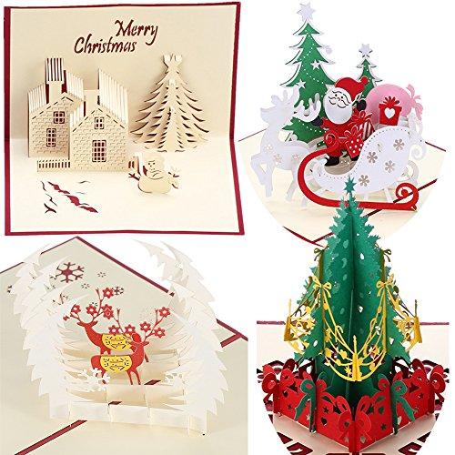 3D ポップアップ クリスマスカード 立体 4枚セット 封筒付き かわいい プレゼント グリーティングカード