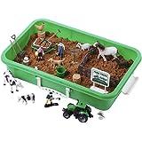 Farm Sand Play Set - Sensory Toys for Kids with 2 lbs of Sand, Farm Animals, Signs, Fences, Trucks and Farm Tools - 28 Farm T