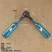 レトロウォールライト個性Ironガラスワインボトル壁ランプバー/カフェ/リビングルーム/ベッドルーム2ヘッドウォールライト ブルー 8974156255985