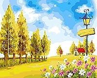 CaptainCrafts 新しい DIY 数字油絵 キット大人のための40 x 50 cmの絵画 初心者の子供たち - 黄金色の秋の風景 (フレーム付き)