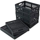 Zerdyne 15 L 4-Pack Plastic Collapsible Storage Basket, Folding storage Crates, Gray