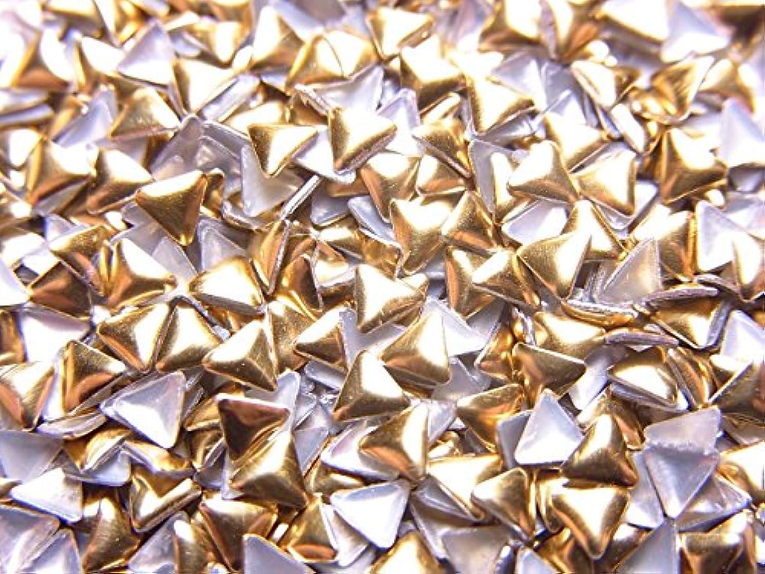 ファイターオン海【jewel】メタルスタッズ 多種類 ゴールドorシルバー 各サイズ 選択可能 (三角形(トライアングル) 3mm, ゴールド)