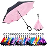 Unisex Inverted Inside Out Umbrella - Material Composition of Pongee Fabrics, Black Electric Ribs & Stainless Steel - Lightwe