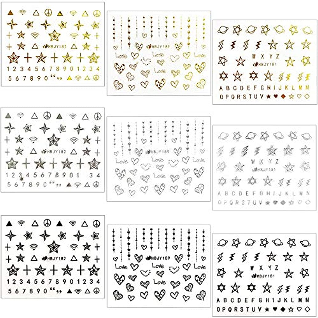 【リュミエラ】9枚セット レジン ネイル シールA 【3種×3色 ゴールド シルバー ブラック】 ハート 星 etc. ネイルにも!