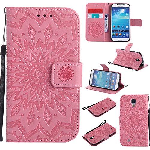 Ooboom Samsung Galaxy S4 ケース ひまわり パターンレザー 便利な保護 フリップ 手帳型 横開き カバー 革 高級PU マグネット式ド収納 スタンド機能 財布型 カバー リストストラップ ために Samsung Galaxy S4 - ピンク