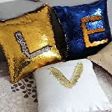 wddh 2色スパンコール枕リバーシブルスパンコール車ソファ装飾枕カバーファンシーマーメイド枕ケース(サファイアブルー+ゴールド)