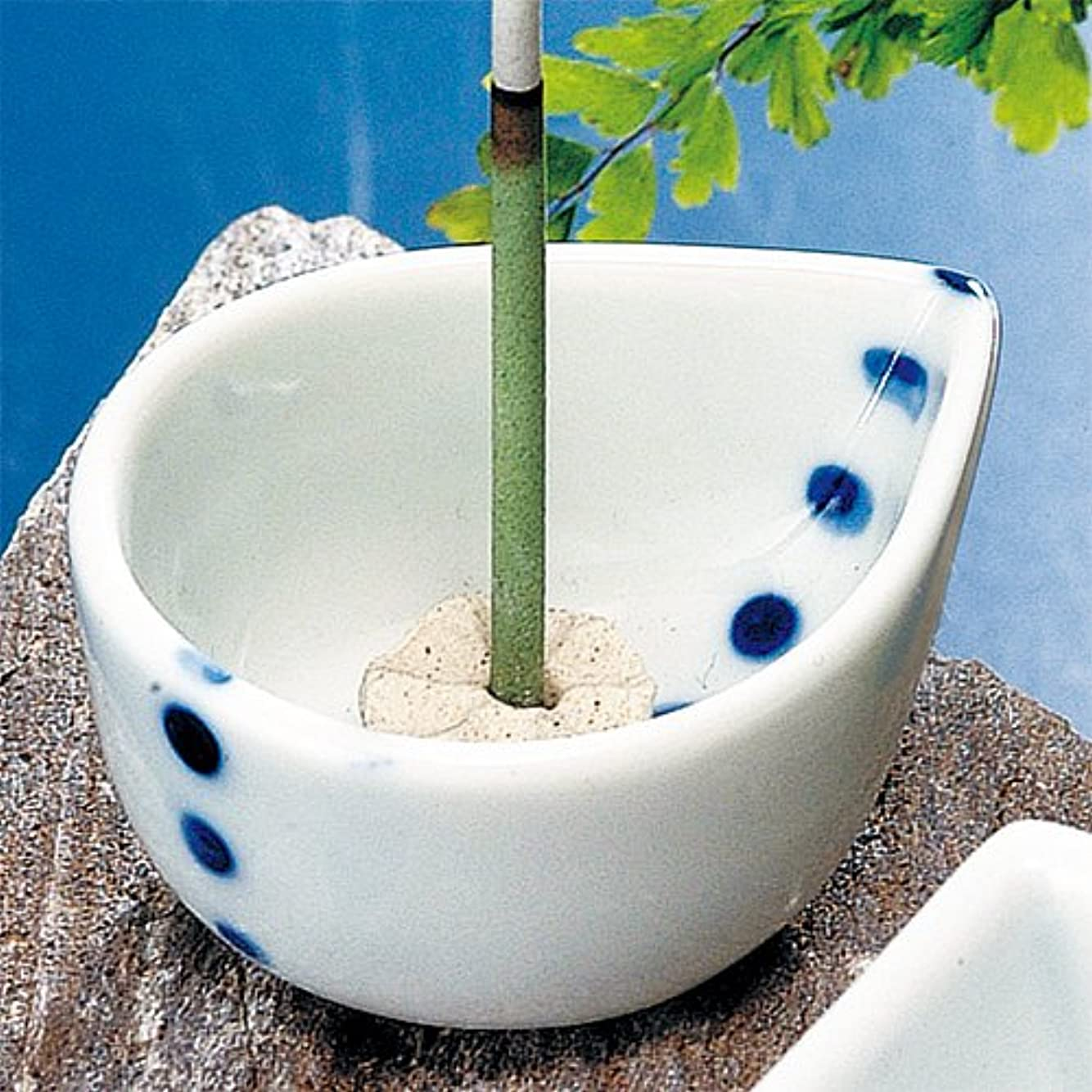 パイプラインカヌー贈り物香皿 水玉 ミニ香立鉢(香玉付) 花びら [5.5x4.5xH2.5cm] プレゼント ギフト 和食器 かわいい インテリア