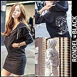 RONDEL-BLACK(ロンデルブラック)バックプリント ジップアップパーカー ワンピース ミニ丈 長袖 無地 黒 ブラック グレー[ネコポス可] gray