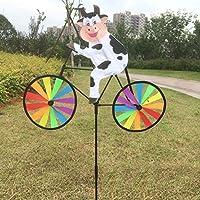 Bchzカラフル動物on Bike風車、ガーデン/芝生/庭装飾