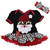 XFentech Baby Girls Christmas Lace Dress Toddlers Princess Fancy Party Costume Romper Long Sleeves / Short sleeves Dance Tutu