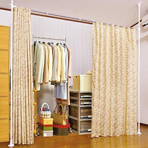 間仕切りカーテン 目隠し つっぱりポール&カーテン付き (花柄)