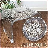 アラベスク・シルバー バスグッズ豪華2点(M)セット モダン&エレガントなアクリル製バスチェア+洗面器(Mサイズ) 風呂いす 風呂イス 風呂椅子