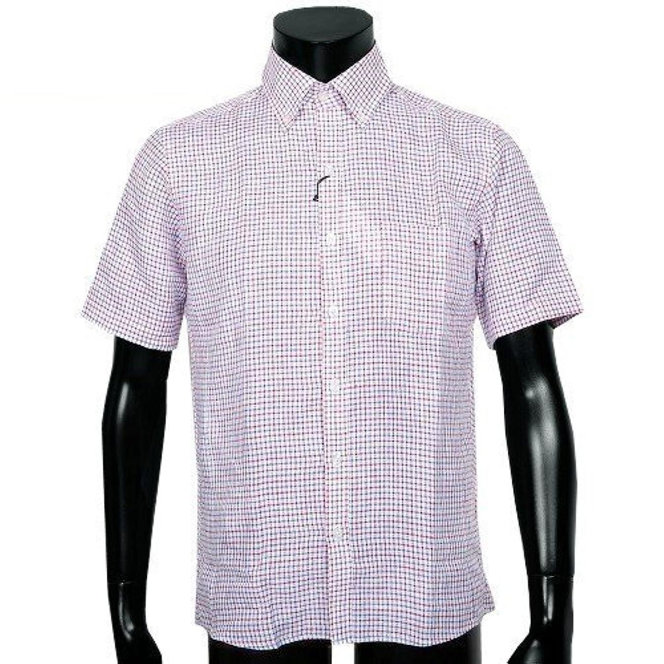 区別する約設定レパートリー【VISARUNO】ビサルノ フレンチリネンギンガムチェックシャツ(半袖) 赤 size M