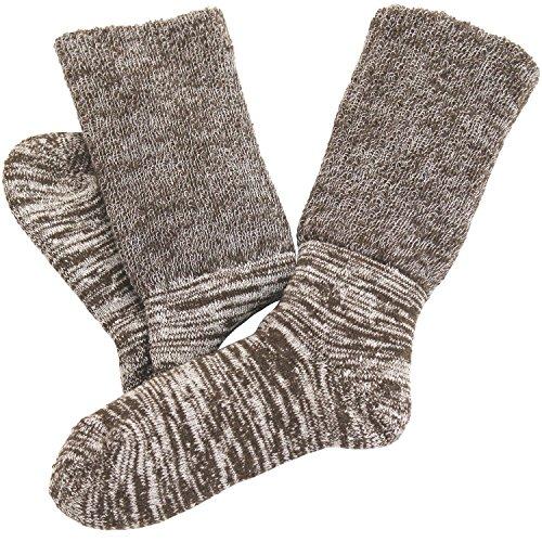hiorie(ヒオリエ) 日本製 冷えとり靴下 内絹外綿 あったか 2重編み靴下 杢ブラウン シルク