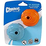 "Chuckit! 20220 Whistler Ball - 2pk, Assorted Orange & Blue, Medium 2.5"""