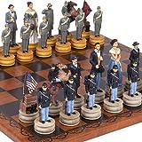 """手描きAmerican Civil War Chessmen &Georgioチェスボードfrom Italy Large、キング: 4?5?/ 8?"""""""