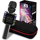 Karaoke Microphone,4-in-1 Portable Handheld Wireless Bluetooth Microphone,with Double Singing,Controllable LED Lights, Family