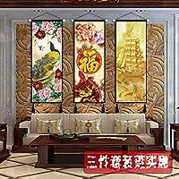SHYPwM 布絵画新しい中国風のリビングルームのソファの背景壁風水装飾画壁画吊り旗タペストリー吊り布 (Color : A5, Size : 45x120cm)