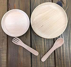 木のおもちゃ ままごと 食器4点セット お皿 スプーン フォーク 木製 セット ごっこ遊び