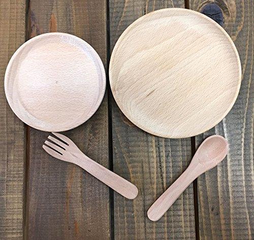 木のおもちゃ ままごと 食器4点セット お皿 スプーン フォ...