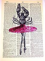 アートN Wordz Lobsterバレリーナピンクのチュチュオリジナル辞書シートPopアート壁またはデスクアートプリントポスター