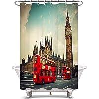 LB 北欧 シャワーカーテン イギリスのビッグベンと赤いバス バスカーテン おしゃれ 浴室カーテン 遮光 目隠し用 防水…