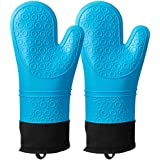Silicone Heat Resistant Oven Mitts,Waterproof Non Slip Oven Mitt,Extra Long Professional Silicone Oven Gloves for Cooking & B