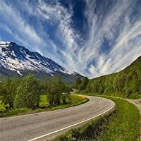 csfoto 5x 5ft背景for Curvy Country Road Mountain Countryside写真バックドロップWinding Road魅力的な丘風景旅行Holiday On Wayフォトスタジオ小道具ビニール壁紙Outdoors
