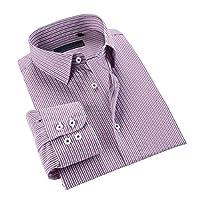 FOMANSH  シャツ メンズ 長袖 ボタニカル ビジネス ワイシャツ カジュアル 高品質 ストライプ柄 綿 通勤 大きいサイズ 春秋 夏