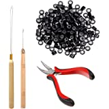 Orgrimmar Hair Extension Tool Kit Hair Extension Remove Pliers Pulling Hook 500 PCS Micro Silicone Rings Bead Device Tool Kit