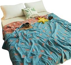 Skazi 六重タオルケット 綿100% ホコリが出にくい ふわふわ 吸湿性 抗アレルギー 防ダニ 肌にやさしいガーゼケット フラミンゴ柄 ダークブルー(シングル:150×200cm)