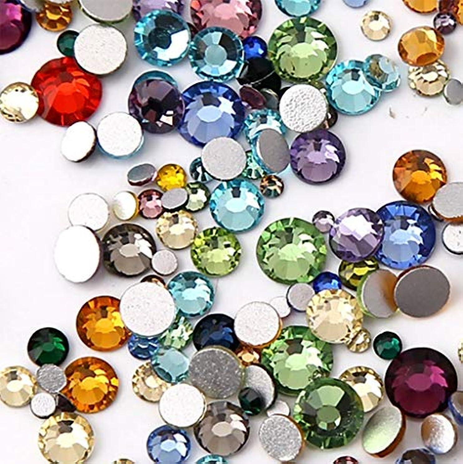 おばあさん思慮深い草XIULI カラー ラインストーン DIY ネイルを飾てと服装使用 高い採光 約1440粒(ss3-30混合サイズ) (ミックスカラー)