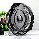 Amlong Crystal Octagon Black Large Crystal Ashtray for Cigarettes Or Cigars with Gift Box