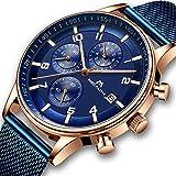 [メガリス]MEGALITH メンズ腕時計 クロノグラフ防水時計 ステンレスメッシュウオッチブルー 多針アナログクオーツ腕時計金属 日付カレンダー ラグジュアリー おしゃれ ビジネス カジュアル メタル男性腕時計