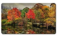 公園、川、橋、秋、木、黄色、赤 パターンカスタムの マウスパッド 旅行 風景 景色 デスクマット 大 (60cmx35cm)