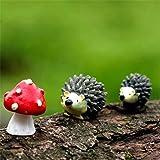 Danmu Resin Mini Hedgehogs and Mushroom Miniature House Fairy Garden Micro Landscape Home Garden Decoration Plant Pots Bonsai