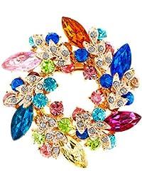 JewelryHouse ヴィンテージファンシーフラワーリーフイミテーションクリスタルブローチとピン