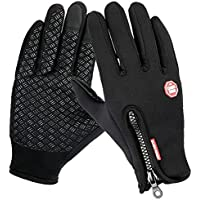 Winter Gloves,Airsspu Touch Screen Gloves Black Gel Men & Women Gloves for Cycling, Running, Climbing and Winter Outdoor Sports- Windproof and Adjustable Size